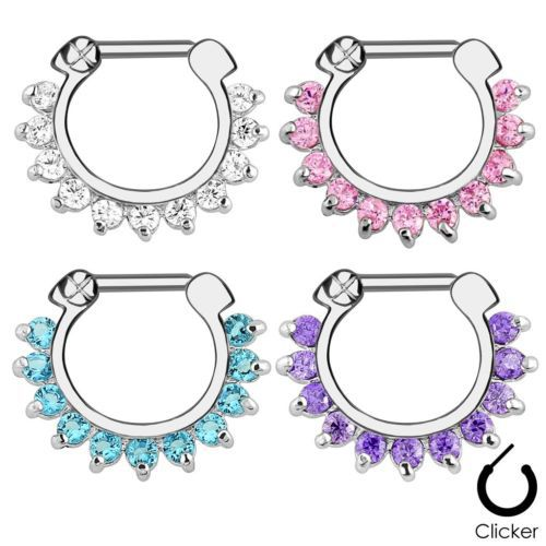 Single Line Pronged Gem Septum Clicker