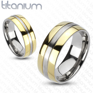 Solid Titanium 2-Tone Gold IP Edges Wedding Ring / Band Ring