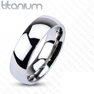 Solid Titanium Glossy Mirror Polished Traditional Wedding Band Ring