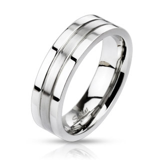 Stainless Steel 2-Tone Groved Band Ring / Wedding Band