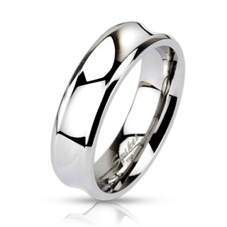 Stainless Steel Concaved Surface Band Ring / Wedding Band