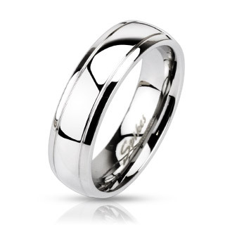 Stainless Steel Dome Stepped Edge Band Ring / Wedding Band