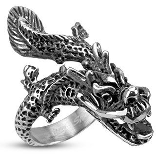 Stainless Steel Mens Flying Dragon Gothic Wide Cast Ring