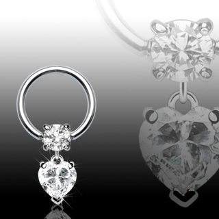 Surgical Steel Ball Closure Ring with Clear Heart Dangle