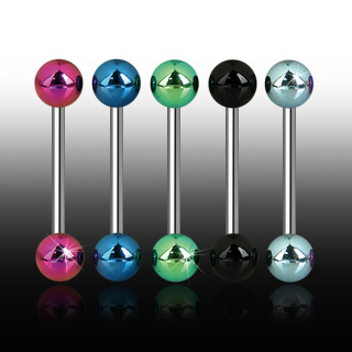 Surgical Steel Bar with Titanium Anodised Balls