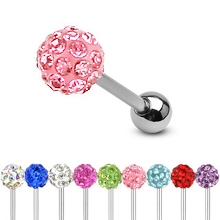 Surgical Steel Barbell with Multi Crystal Ferido Ball Top