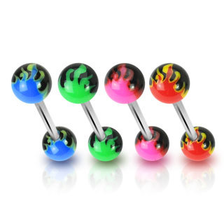 Surgical Steel Nipple / Tongue Barbell with UV Flamed Balls
