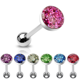 Surgical Steel Phosphor Glitter Epoxy Dome Top Barbell