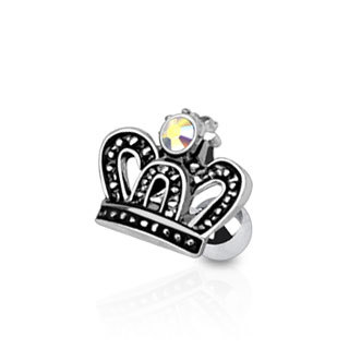 Surgical Steel Royal Crown with CZ Tragus / Cartilage Piercing Stud / Barbell