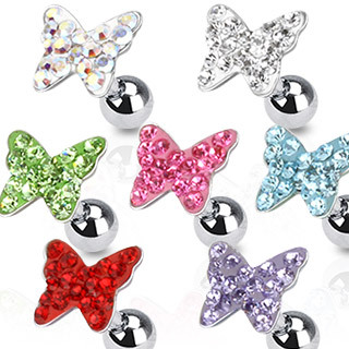 Surgical Steel Tragus / Cartilage Bar with Multi Paved Butterfly Top