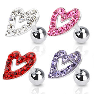 Surgical Steel Tragus / Cartilage Bar with Multi Paved Hollow Heart Top