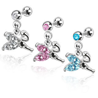Surgical Steel Weeping Fairy Dangle with Gemmed Wings Cartilage/Tragus Bar