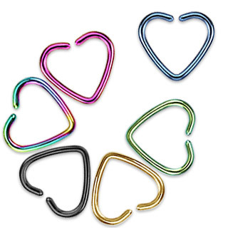 Titanium Anodised Fake Cartilage 'Clip-On' Single Closure Heart Ring