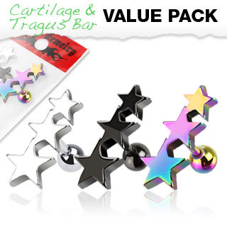 Value Pack of Assorted Surgical Steel Three Star Cartilage / Tragus Bar