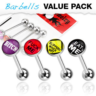 Value Pack of  Rude Word Surgical Steel Tongue Bars with Epoxy Dome Ball