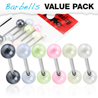 Value Pack of Surgical Steel Barbells / Tongue Bars with Faux Pearl Balls