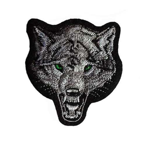 Wolf Head Iron / Sew On Embroidered Patch